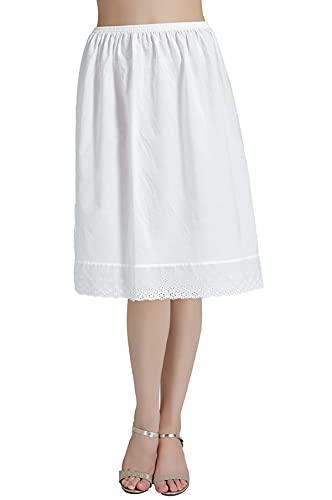 BEAUTELICATE Mujer Enaguas de Algodón Corta Larga Antiestática Combinación para Vestido Antideslizante Plain Falda Marfil con Encaje Dobladillo