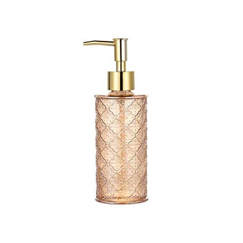 MKVRS Dispensador de jabón de cristal, botella de loción retro de estilo nórdico, botella ligera de lujo para botella de champú de hotel, dispensador de loción y jabón de 280 ml (color naranja