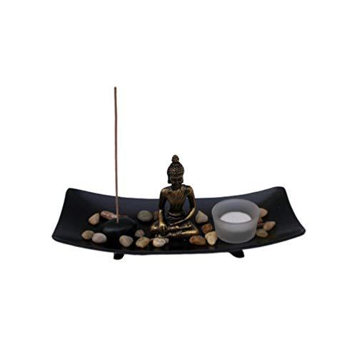 Toyvian Tisch Zen Garten Kit Meditation Buddha Statue Sandschale Weihrauchhalter für Büro zu Hause Miniatur Landschaft Dekoration