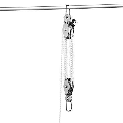 Flaschenzug, mit 20 Meter Nylonseil, Lastenzug für Hebeanwendungen, Transporthilfe, Hebezug, Nylonseil, Seilzug, Handseilzug,