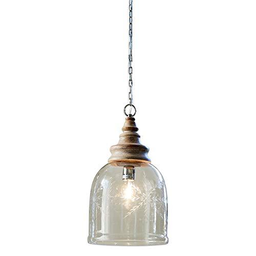 Loberon Hängelampe Bretterly, Glas, Mangoholz, H/Ø 43/28 cm, klar, E27, max. 40 Watt, A++ bis E
