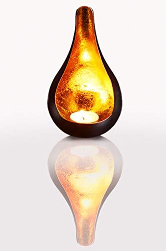 Windlicht Laterne orientalisch Rasin Groß 18cm Gold | Orientalische Vintage Teelichthalter Schwarz von außen und Goldfarben innen | Marokkanische Windlichter aus Metall als Dekoration
