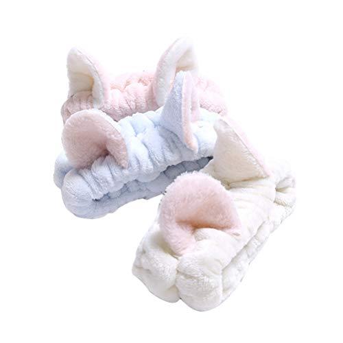 Lurrose - Fasce per capelli, soffici, con adorabili orecchie di gatto, 3 pezzi, ottime per truccarsi, doccia, spa, yoga, sport, per ragazze e donne (celeste, bianco, rosa)