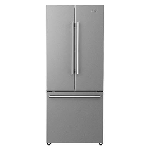 Galanz GLR16FS2K16 3 French Door Refrigerator with Bottom Freezer & Installed Ice Maker, True Stainless Steel