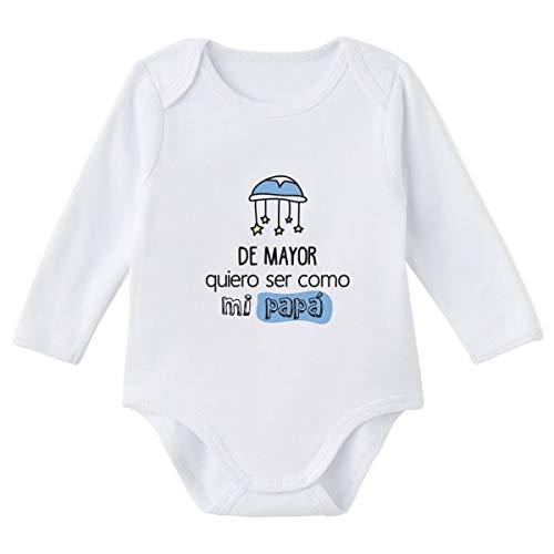 SUPERMOLON Body bebé manga larga De mayor quiero ser como mi papá Blanco algodón para bebé 9-12 meses