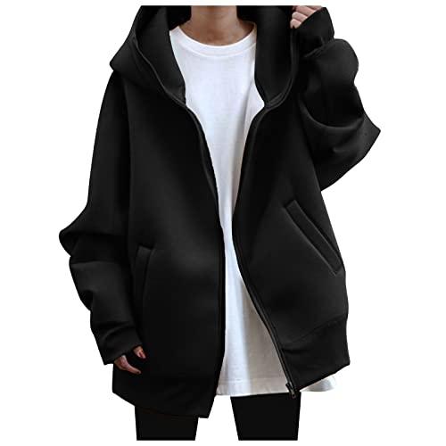 QEERT Abrigo de invierno para mujer, elegante, de manga larga, monocolor, con cremallera y capucha, chaqueta de forro polar con capucha, Negro , XXXL