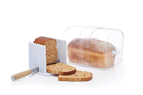 KitchenCraft Stay Fresh - Contenedor expandible con guía para cortar pan, tamaño grande