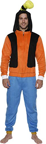 Disney Men's Goofy COS Play ONE Piece Pajama Union Suit, Orange, L/XL
