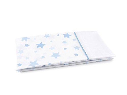 Tiendas Mi Casa - 2 ud Funda de Almohada Estrellas Cama 90 cm, Azul. Disponible en Varios tamaños y Colores.
