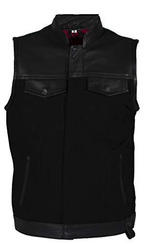 IGUANA CUSTOM CLOTHES Chaleco mixto en piel de vaca y denim vaquero negro con muchos detalles CANALLA biker motorista club (XL)