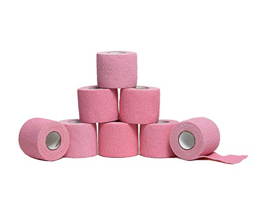 HealiT SuperusGrip™ Cohesive Bandage 2inch-Wide Self-Adhering Performance Athletic Wrap First Aid Tape, Sports Wrap Athletic Tape, Ideal for Stretch Wrist, Ankle Sprains, Swelling - Pink - 8 Pack