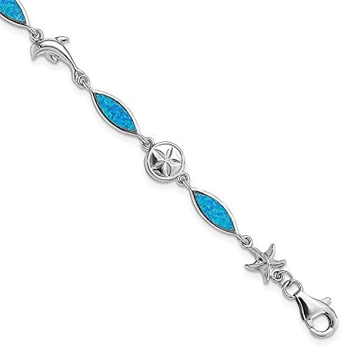 Diamond2Deal Damen-Armband aus 925er Sterlingsilber, rhodiniert, blaue Einlage, künstlicher Opal, 17,8 cm