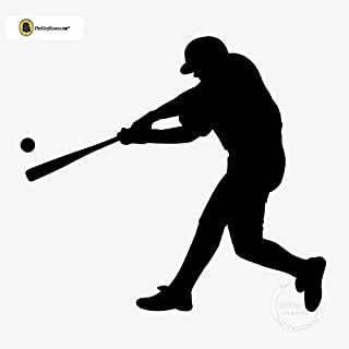 TheVinylGuru - Baseball Wall Decal - Left Handed Batter Vinyl Art for Home Decor - Removable Giant Sticker - Sport Player Silhouette for Boys and Girls - Safe Outline Figure for Themed Room Design