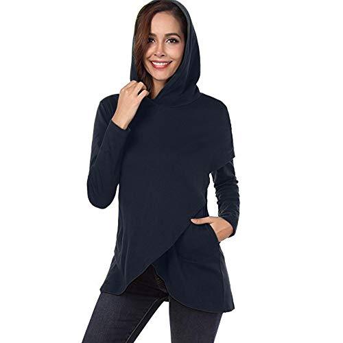 OSYARD Damen Plaid Patchwork Asymmetrische Kapuzenpullover, Frauen Langarm Plaid Hoodies Asymmetrische Saum Pullover Sweatshirt Tops (M, Marine)