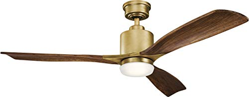 """Kichler 300027NBR Ridley II 52"""" Ceiling Fan with LED Light and Wall Control, Natural Brass"""