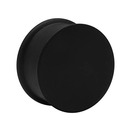 Crazy Factory® Ribbed Plug aus Silikon | 22mm Schwarz • Piercing • Ohr • Günstig • Basic • Top Qualität