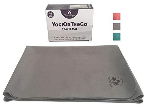 Travel Yoga Mat Foldable Lightweight - Thin Yoga Mat - Exercise Mat - Gray Yoga Mat