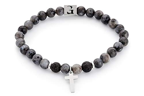 Handmade Stretch Bracelet For Men Set With Labradorite And Lava Gemstone Beads And Stainless Steel Cross Pendant - Fits 7'-7.75' Wrist Size