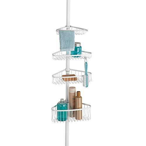 mDesign Teleskop Duschregal aus Metall – Shower Caddy mit ausziehbarer Stange für Shampoo, Seife, Waschlappen etc. – Duschablage ohne Bohren für die Ecke – mattweiss
