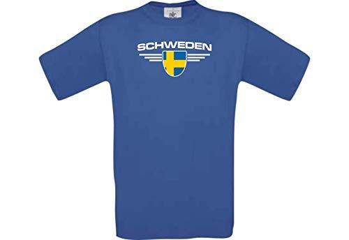 Shirtstown – Camiseta, Suecia, escudo, país, país, fútbol – Camiseta, Países – Camiseta deportiva, club camisetas, fútbol, frase logotipo azul cobalto XXL