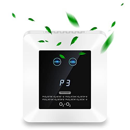 Purificador de Aire Hogar con Filtro HEPA y Carbón Activado,Eliminar 99,97% Alergias, Polen, Tabaco, Olor,Ozonizador de Aire con Temporizador,CADR hasta 500m³/h,para Mascotas,Auto,Baños etc