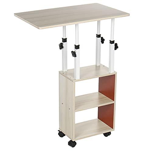 WENMENG2021 Mesa de noche con estante, mesa de noche, para ordenador portátil, rotación, se puede levantar de pie, escritorio, escuela, escritorio de ordenador, color blanco (color: como se muestra)