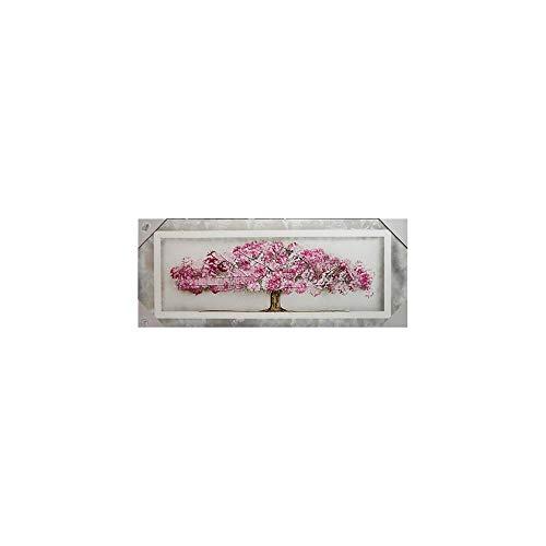 Arcibold Home Diseño árbol de Vida, Decorativo, Moderno - 48x68 cm - Color Rosa, Cuadro árbol de la Vida Rosa Pintado a Mano, óleos acrílicos y ecológicos.