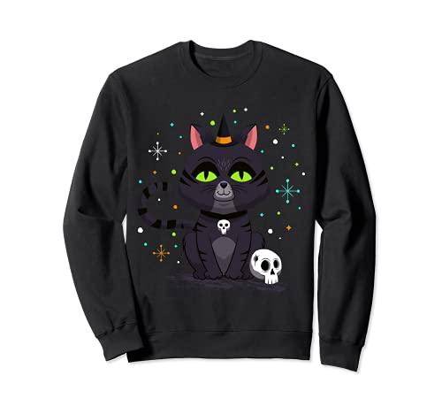 Bruja gato Halloween calabaza espritu gtico gato Halloween Halloween Sudadera