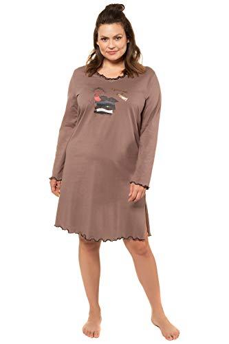 Ulla Popken Damen Bigshirts, 2er-Pack Prinzessin auf der Erbse, Reine Baumwolle Nachthemd, (Schwarz 10), (Herstellergröße: 50+)