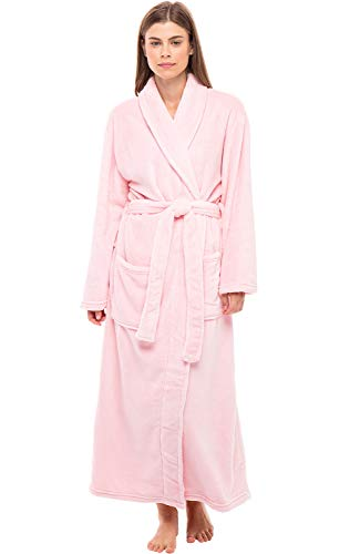 Alexander Del Rossa Women's Plush Fleece Robe, Warm Bathrobe, Small Medium Pink Rose Quartz (A0117RSQMD)