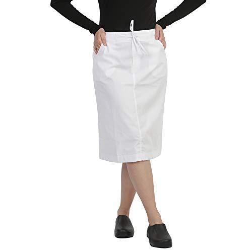 Womens MID Calf Length Scrub Skirt with Drawstring White