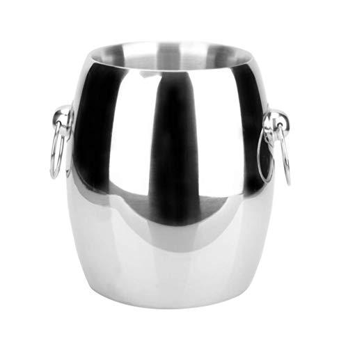SJYDQ Cubo de Hielo Cubo de champán Grueso de Acero Inoxidable Cubo de Hielo Cubo de Hielo Doble con Oreja Barril de Vino