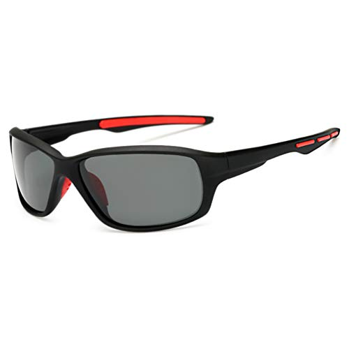 Occhiali da Sole Sportivi per Uomo e Donna occhiali da ciclismo Protezione UV400 Polarizzati Lenti Colorati Montatura in Leggera per Guida Golf Pesca moto (nero e grigio)