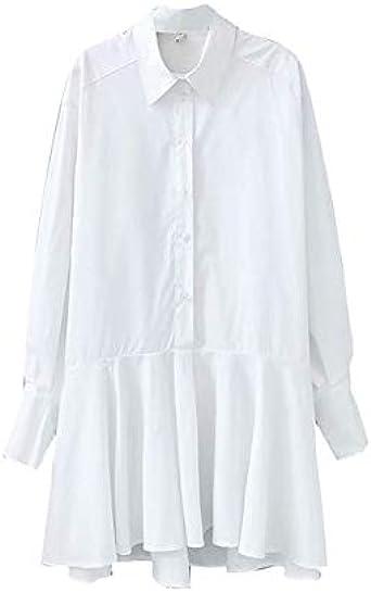 ZCFDD Camisa Blanca para Mujer Mini Vestido Turn Down Collar ...