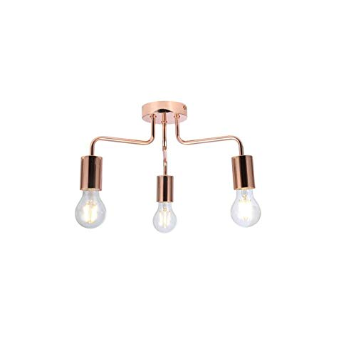 Plafondlamp van koper, zwart of chroom, retro, E27, 3-weg, plafondlamp