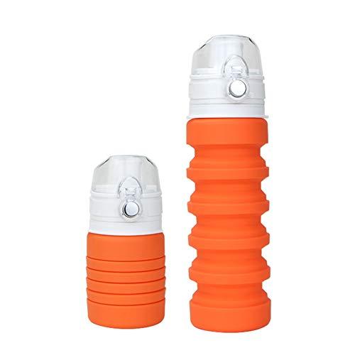 LAIABOR Tasse De Voyage Pliable en Silicone avec Lanière Mugs De Camping Portable Outil De Voyage en Plein Air,Orange
