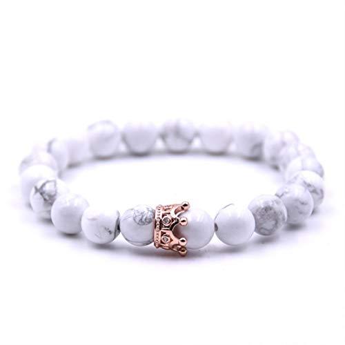 Mode Paar Armband Exquisite Einstellbare Vulkanischen Stein Marmor Peeling Perlen Krone Armreifen Für Frauen Männer Schmuck-Rose Gold
