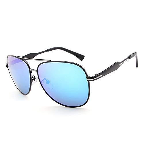 Yeeseu Gafas de sol al aire libre gafas de sol polarizadas for el marco de Hombres Rana de conducción espejo redondo del metal de la pierna de las gafas de sol gafas de moda (Color: Plata, Tamaño: Lib