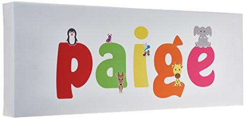 Feel Good Art Gallery Boîte de pépinière en toile avec panneau avant massif Motif rectangle Mignons illustrations et personnalisable avec nom de fille (15 x 42 x 4 cm, petit Paige)