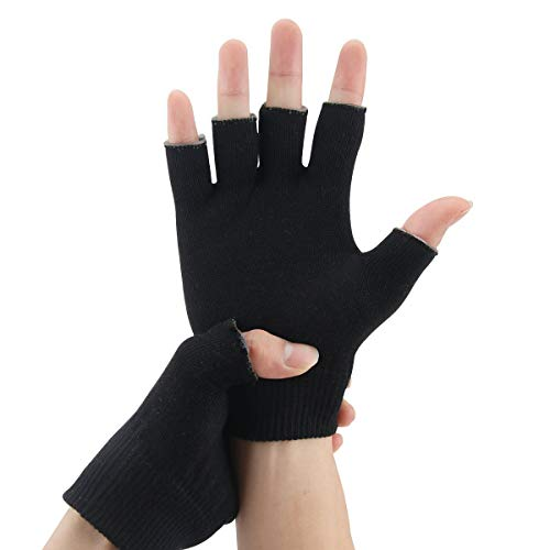 EXPER Moisturizing Gel Gloves Day Night Relief from Eczema and Dry, Rough, and Cracked Hands Thermoplastic Gel Lining with Essential Oils and Vitamins E (Black)