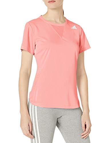 adidas Camiseta de Entrenamiento de 3 Rayas Heat.rdy para Mujer, Mujer, Camisa, GUZ76, Rosado, L