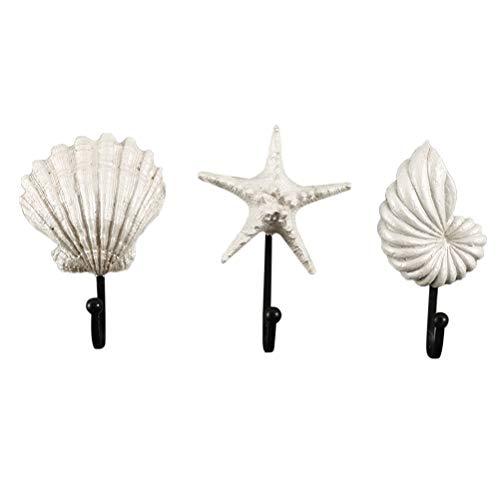 3 unids Concha Shell Sea Star Nautico Ganchos de Pared Toalla Bata Abrigo Sombreros Ganchos Clave Gancho Playa Náutica Costa Decoraciones de Pared Decoración para el hogar