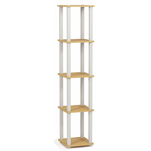 FURINNO Turn-S-Tube 5-Tier Corner Square Rack Display Shelf, Beech/White