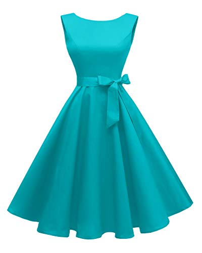 Hanpceirs Women's Boatneck Sleeveless Swing Vintage 1950s Cocktail Dress Turquoise M