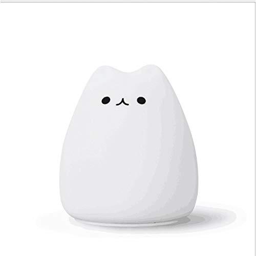 XHSHLID LED-kinderlamp met USB-aansluiting, nachtlampje in kattenvorm, oplaadbaar, wekker voor kinderen, cadeau voor kinderen