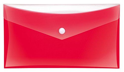 Veloflex 4571120 Projekt- und Dokumententasche, DIN lang, PP-Folie, mit zusätzlicher Tasche, Sichttasche, rot