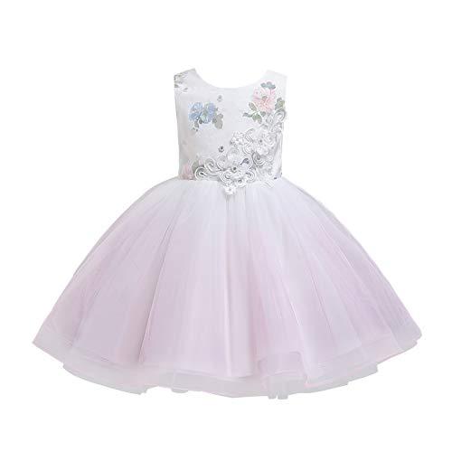 BOIYI Disfraz de Princesa Chicas Fancy Vestido Retro Princesa Flor Desfile de Nios Vestido de Cosplay de Carnaval, Halloween y la Fiesta de Cumpleaos Vestidos Vestido de Fiesta(Rosa,130)