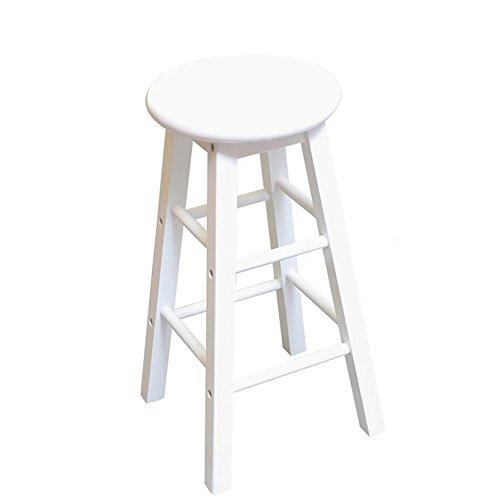 ZHANGRONG- Tabouret de bar en bois avec repose-pieds et siège rond ✔ Bois d'acacia robuste ✔ Cuisine ✔ Petit-déjeuner ✔ Comptoir ✔ Conservatoire ✔ Café ✔ Pub -Tabouret de canapé (Couleur : Blanc)