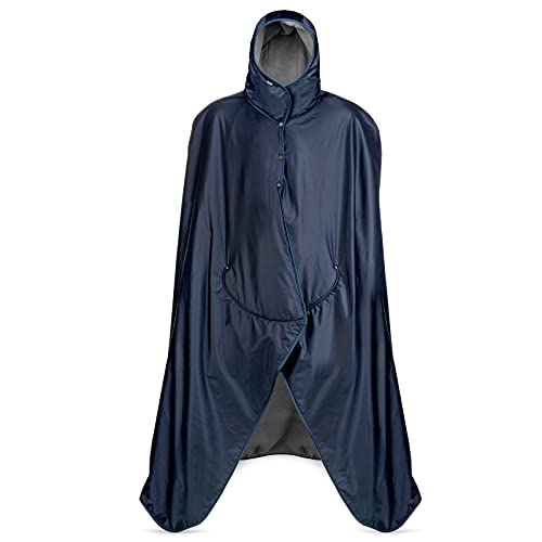 Large Extreme Weather Hooded Blanket by Mambe - Navy and Charcoal - 100% Waterproof and Windproof with Premium Stuff Sack