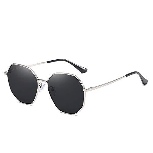 Gafas de sol polarizadas para mujer, protección UV, moda retro, cuadradas, clásicas, lentes grandes, color negro/plata (color: negro)